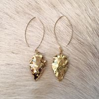 Gold Filled Earrings with 24K Electroplated Arrowheads  3.5 Inches In Length
