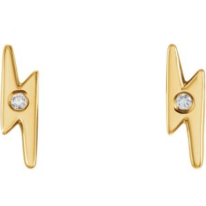 Diamond Lightening Bolt Earrings